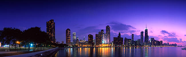 Night Skyline Chicago IL USA