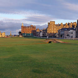 Golf course with buildings in the background, The Royal and Ancient Golf Club, St. Andrews, Fife, Scotland