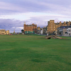 Golf course with buildings in the background, Silican Bridge Royal Golf Club, St. Andrews, Fife, Scotland