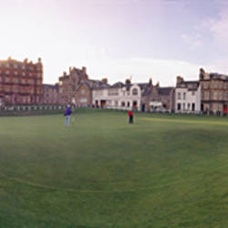 Golf course with buildings in the background, St. Andrews, Fife, Scotland