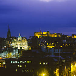 High angle view of a city lit up at night, Edinburgh Castle, Edinburgh, Scotland