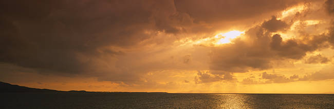 Sunset over the ocean, Atlantic Ocean, Vieques, Puerto Rico, USA