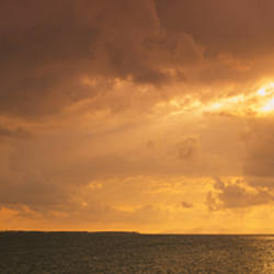Sunset over the ocean, Atlantic Ocean, Vieques, Puerto Rico, USA