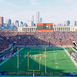 High angle view of spectators in a stadium, Soldier Field (before 2003 renovations), Chicago, Illinois, USA