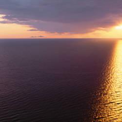 Sunset over a lake, Lake Michigan, Michigan, USA