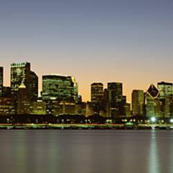 Skyline at dusk Chicago IL USA