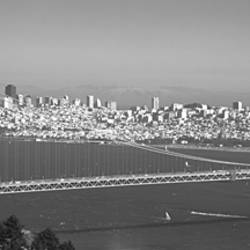 High angle view of a suspension bridge across the sea, Golden Gate Bridge, San Francisco, California, USA