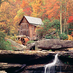 Low angle view of a mill in a forest, Glade Creek Grist Mill, Babcock State Park, West Virginia, USA