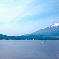 Mountains near a lake, Mt Fuji, Yamanaka Lake, Yamanashi Prefecture, Chubu Region, Japan