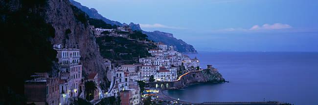 High angle view of a village near the sea, Amalfi, Amalfi Coast, Salerno, Campania, Italy