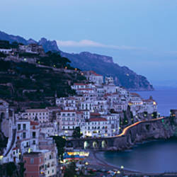 High angle view of a village near the sea, Amalfi, Amalfi Coast, Salerno, Campania, Italy
