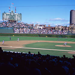 Baseball match in progress, Wrigley Field, Chicago, Cook County, Illinois, USA