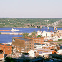 Aerial view of a city, Dubuque, Iowa, USA