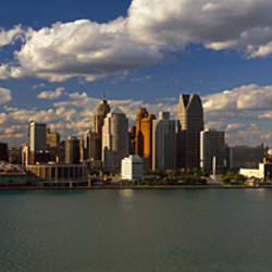 Buildings at the waterfront, Detroit River, Detroit, Wayne County, Michigan, USA
