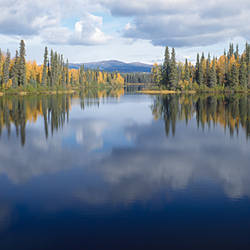 Reflection of clouds in a lake, Dragon Lake, Yukon, Canada