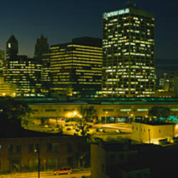 City lit up at night, Newark, New Jersey, USA