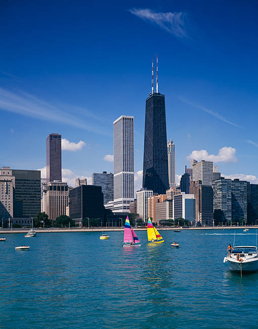Skyscrapers at the waterfront, Chicago, Cook County, Illinois, USA