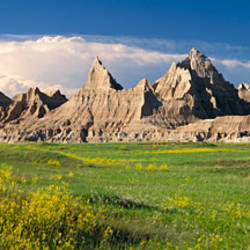 Rock formations on a landscape, Badlands National Park, South Dakota, USA