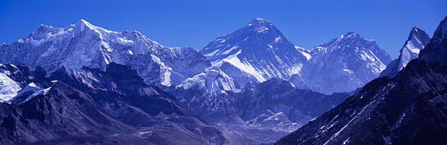 Snow on mountains, Goyko Valley, Mt Everest, Khumbu, Nepal
