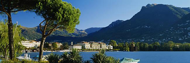 City on the waterfront, Lake Lugano, Lugano, Switzerland