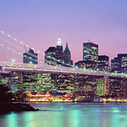 Bridge across a river lit up at dusk, Brooklyn Bridge, East River, World Trade Center, Wall Street, Manhattan, New York City, New York State, USA