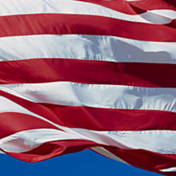 Close-up of an American flag fluttering, USA