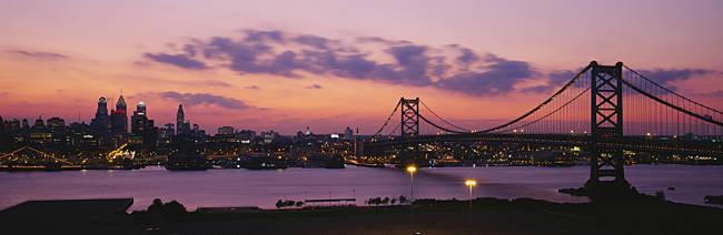 Bridge across a river, Ben Franklin Bridge, Philadelphia, Pennsylvania, USA