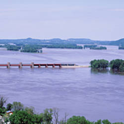 USA, Iowa, Bellevue, Mississippi River, Aerial view of a dam over a river