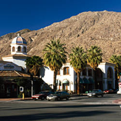 Buildings at the roadside, Palm Springs, Riverside County, California, USA