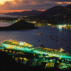 High angle view of cruise ships lit up at dusk, Charlotte Amalie, St. Thomas, US Virgin Islands