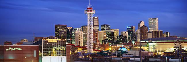 Buildings lit up at dusk, Denver, Colorado, USA