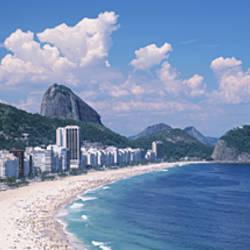 High Angle View Of Buildings Along A Coast, Copacabana, Rio De Janeiro, Brazil