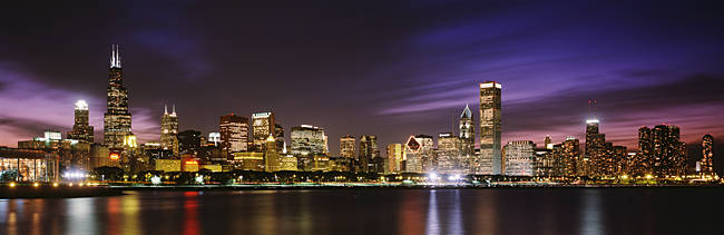 Buildings at the waterfront lit up at night, Sears Tower, Lake Michigan, Chicago, Cook County, Illinois, USA