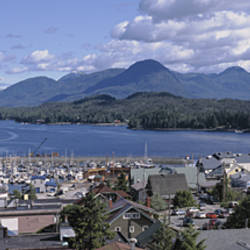 USA, Alaska, Ketchikan, Aerial view of a town by the water
