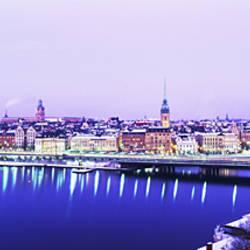 Buildings In A City, Riddarholmen, Riddarholmen And The Old Town, Stockholm, Sweden