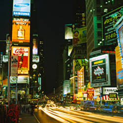 Neon boards in a city lit up at night, Times Square, New York City, New York State, USA
