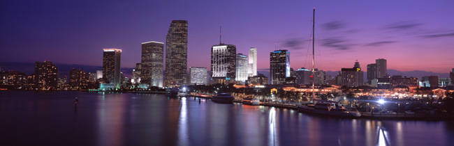 Night Skyline Miami FL USA