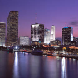 Night Skyline Miami FL USA