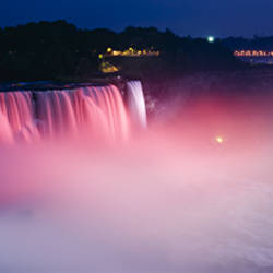 High angle view of a waterfall at night, Niagara Falls, New York State, USA