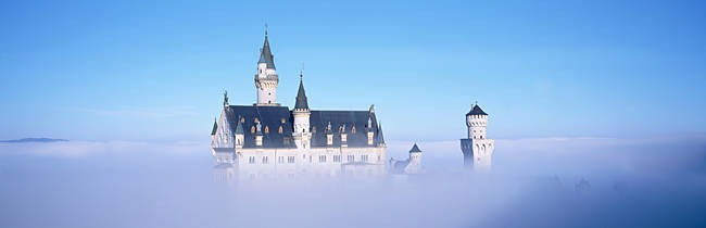 Castle covered with fog, Neuschwanstein Castle, Bavaria, Germany