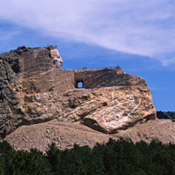 Low angle view of a mountain monument, Crazy Horse Memorial, Black Hills, Custer, South Dakota, USA