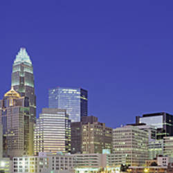 USA, North Carolina, Charlotte, View of a cityscape at night