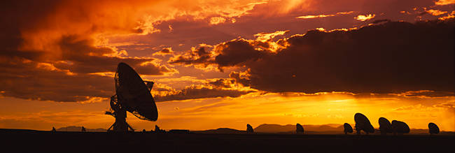 Silhouette of Array Radio Telescopes, National Radio Astronomy Observatory, New Mexico, USA