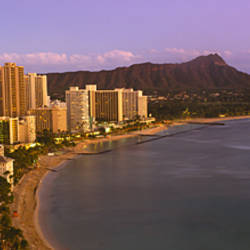 High angle view of buildings at the waterfront, Waikiki Beach, Honolulu, Oahu, Hawaii, USA