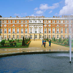 Fountain in front of a palace, Hampton Court, London, England