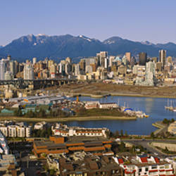 Aerial view of buildings in a city, Vancouver, British Columbia, Canada