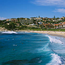 High angle view of a group of people on the beach, Coogee Beach, Sydney, New South Wales, Australia