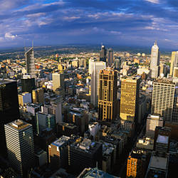 Aerial view of skyscrapers in a city, Melbourne, Australia