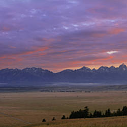 Panoramic View Of Mountains At Dusk, Jackson Hole, Teton Mountains, Grand Teton National Park, Wyoming, USA