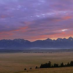Panoramic View Of Mountains At Dusk, Jackson Hole, Teton Mountains, Grand Teton National Park, Wyoming, USA